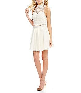 Image of As U Wish Lace Top with Mesh Skirt Two-Piece Dress