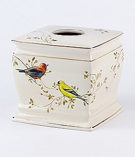 Image of Avanti Linens Gilded Birds Ceramic Tissue Box