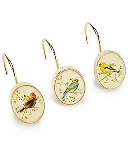 Image of Avanti Linens Gilded Birds Shower Hooks - Set of 12