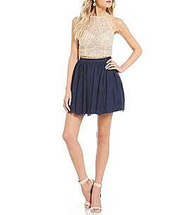 Image of B. Darlin Crystal Beaded Top with Mesh Skirt Two Piece Dress