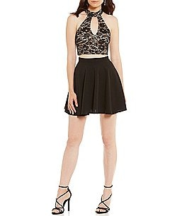 Image of B. Darlin Halter Lace Top Two-Piece Dress