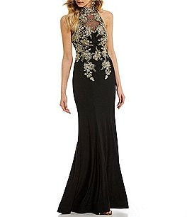 Image of B. Darlin Mock Neck Embroidered Bodice Long Dress