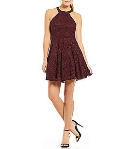 Image of B. Darlin Sequin Lace Strappy Back Fit-and-Flare Dress