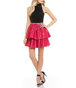 Image of B. Darlin Velvet with Tiered Skirt Two-Piece Dress