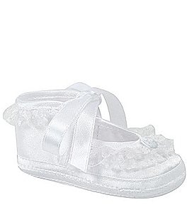 Image of Baby Deer Satin Lace Trim Slipper Crib Shoes