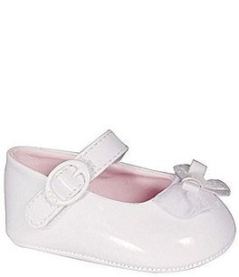 Image of Baby Deer White Patent Skimmer Crib Shoes