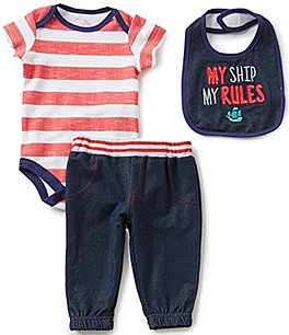 Image of Baby Starters Baby Boys 3-12 Months Nautical Striped Bodysuit, Denim-Look Pants, and Bib Set