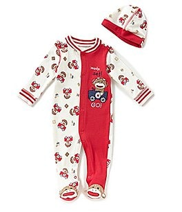 Image of Baby Starters Baby Boys 3-9 Months Sock Monkey Footed Coverall & Matching Hat Set