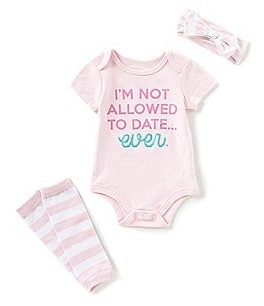 Image of Baby Starters Baby Girls Newborn-12 Months Not Allowed To Date Short-Sleeve Bodysuit