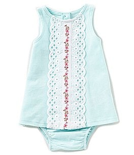 Image of Baby Starters Baby Girls Newborn-9 Months Lace-Trim Solid Dress