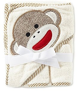 Image of Baby Starters Sock Monkey Appliqued Hooded Terrycloth Towel & Washcloth Set