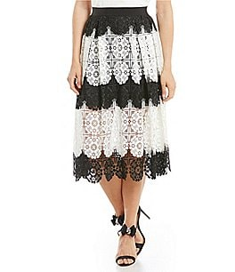 Image of Belle Badgley Mischka Rabia Two Tone Lace Midi Skirt