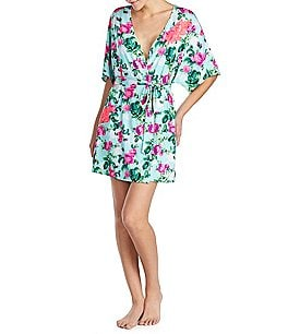 Image of Betsey Johnson Botanical Dreams Slinky Knit Short Wrap Robe