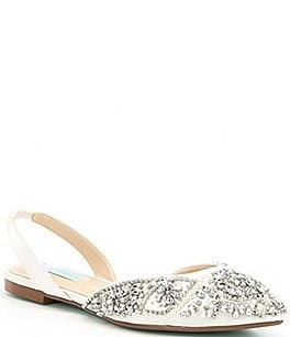 Image of Blue by Betsey Johnson Molly Rhinestone Slingback Dress Flats