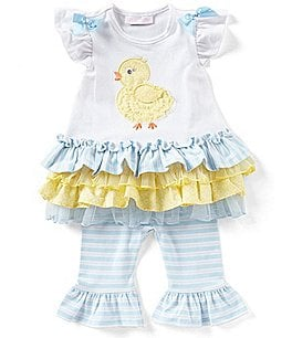 Image of Bonnie Baby Baby Girls 12-24 Months Easter Chick Applique Drop-Waist Dress & Striped Leggings Set