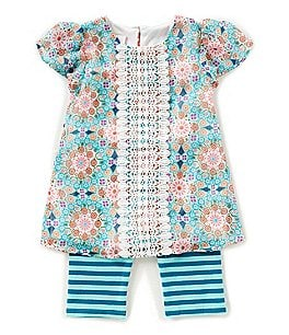 Image of Bonnie Baby Baby Girls 12-24 Months Flutter-Sleeve Printed Dress & Striped Leggings Set