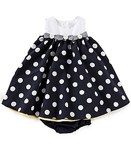 Image of Bonnie Baby Baby Girls 12-24 Months Nautical Dotted Dress