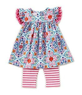 Image of Bonnie Baby Baby Girls 12-24 Months Printed A-Line Dress & Striped Leggings Set