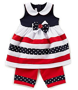 Image of Bonnie Baby Baby Girls 12-24 Months Striped Bow Dress & Poplin Pants Set