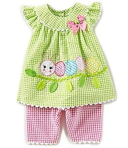 Image of Bonnie Baby Baby Girls Newborn-24 Months Caterpillar-Appliqued Checked Dress & Capri Pant Set