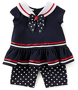 Image of Bonnie Baby Baby Girls Newborn-24 Months Drop-Waist Sailor Dress & Dotted Pants Set