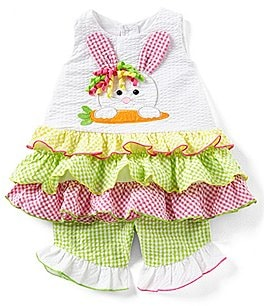 Image of Bonnie Baby Baby Girls Newborn-24 Months Easter Bunny Face Fit-And-Flare Dress & Checked Pant Set