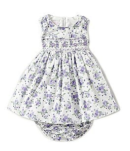 Image of Bonnie Baby Baby Girls Newborn-24 Months Floral-Printed A-Line Dress