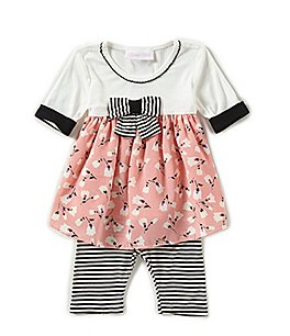 Image of Bonnie Baby Baby Girls Newborn-24 Months Mixed-Media A-Line Dress & Striped Leggings Set