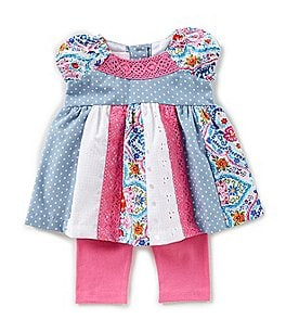 Image of Bonnie Baby Baby Girls Newborn-24 Months Mixed-Print Dress & Solid Leggings Set