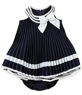 Image of Bonnie Baby Baby Girls Newborn-24 Months Nautical Pleated Bow Dress