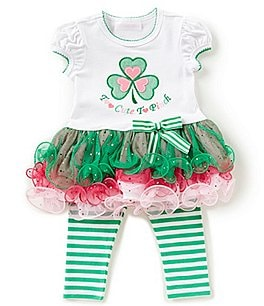 Image of Bonnie Baby Baby Girls Newborn-24 Months Saint Patrick's Day Tutu Dress & Striped Leggings Set
