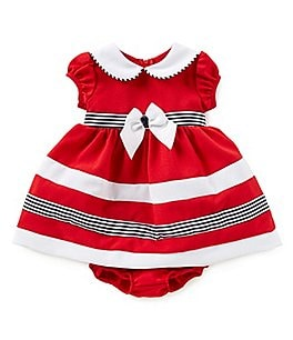 Image of Bonnie Baby Baby Girls Newborn-24 Months Striped Nautical Dress