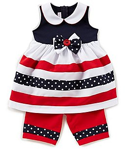 Image of Bonnie Baby Baby Girls Newborn-9 Months Striped Bow Dress & Poplin Capri Pants Set