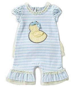 Image of Bonnie Baby Baby Girls Newborn-9 Months Striped Duckie Coverall