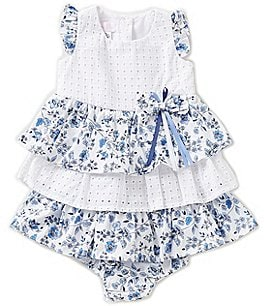 Image of Bonnie Baby Girls 12-24 Eyelet Floral-Printed Tiered Ruffle Dress