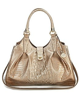 Image of Brahmin Melbourne Collection Elisa Crocodile-Embossed Hobo Bag