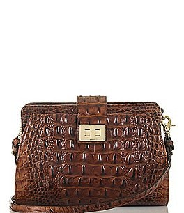 Image of Brahmin Melbourne Collection Alena Crocodile-Embossed Cross-Body Bag