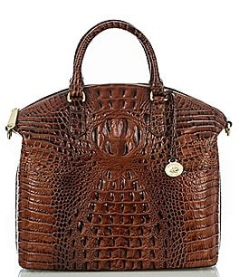 Image of Brahmin Melbourne Collection Large Duxbury Crocodile-Embossed Dome Satchel