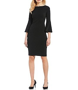 Image of Calvin Klein 3/4 Sleeves Bell Sleeve Sheath Dress
