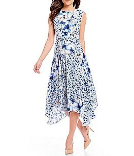 Image of Calvin Klein Mixed Floral Print Patchwork Belted Fit-and-Flare Handkerchief Hem Dress