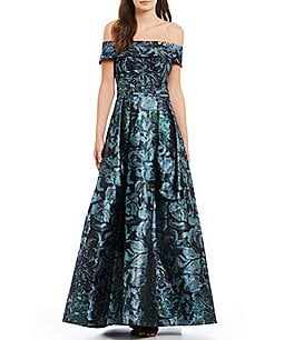 Image of Calvin Klein Off-the-Shoulder Metallic Floral Ballgown
