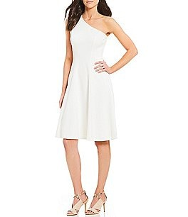 Image of Calvin Klein One-Shoulder Fit-and-Flare Dress