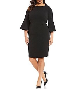 Image of Calvin Klein Plus Size Round Neck Bell Sleeve Sheath Dress