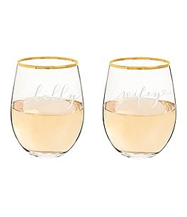 Image of Cathy's Concepts Hubby & Wifey Stemless Wine Glasses, Set of 2