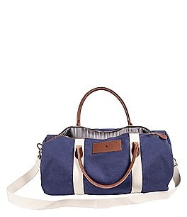 Image of Cathy's Concepts Initial Canvas & Leather Blue Duffel Bag