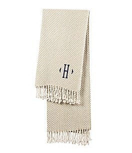 Image of Cathy's Concepts Initial-Embroidered Beige Herringbone Throw