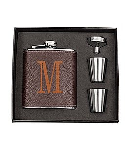 Image of Cathy's Concepts Initial Brown Leather-Wrapped Flask Set