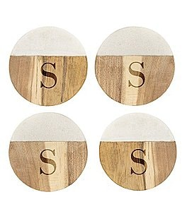 Image of Cathy's Concepts Initial Marble & Acacia Wood Coasters, Set of 4