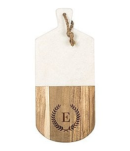 Image of Cathys Concepts Initial Marble & Acacia Wood Serving Board