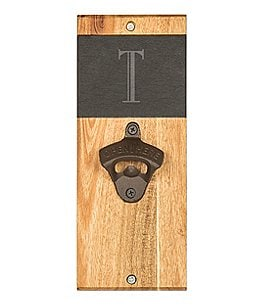 Image of Cathy's Concepts Initial Slate & Acacia Wood Wall-Mount Bottle Opener